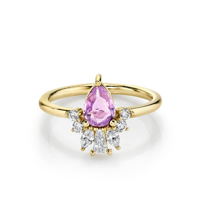 Lilac Pink Sapphire Pear Engagement Ring