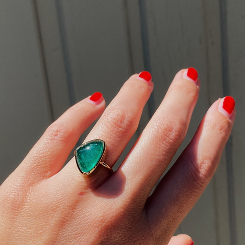 6.5ct Emerald Cabochon Bezel Ring - Marrow Fine