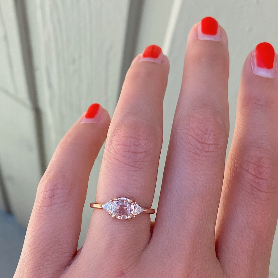 Pink Sapphire + Trillions Engagement Ring - Marrow Fine