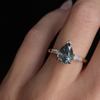 Teal Sapphire Pear Engagement Ring