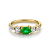 .49ct Emerald Oval & White Diamond Cluster Ring - Marrow Fine