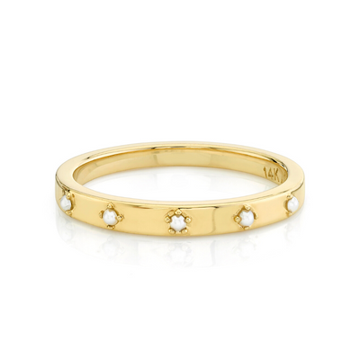 Pearl Star Set Stacking Ring - June - Marrow Fine