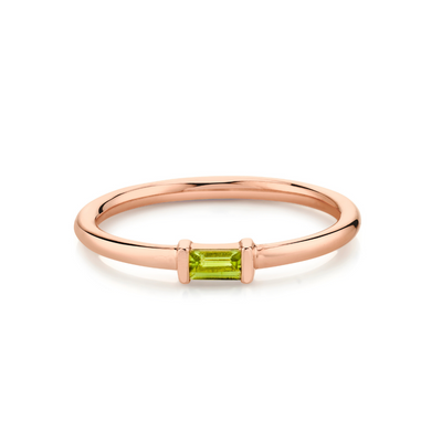 Peridot Straight Baguette Stacking Ring - August - Marrow Fine