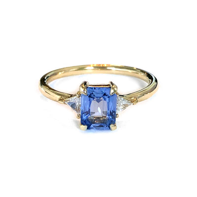 Emerald Cut Blue Sapphire Engagement Ring