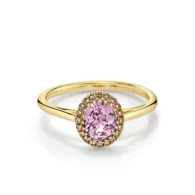 Pink Sapphire Perfect Halo Engagement Ring