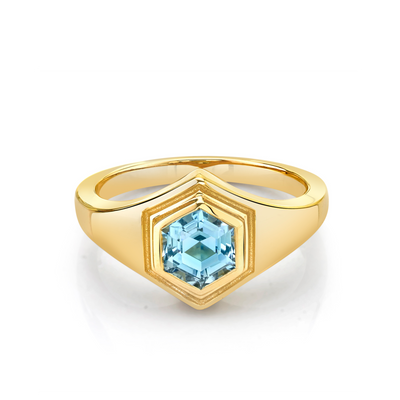Hexagon Aquamarine Boyfriend Signet