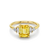 Yellow Sapphire & White Diamond Ring