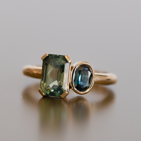 Emerald-Cut & Oval Sapphire Toi et Moi Ring