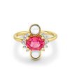 Pink Sapphire & Moonstone Ring