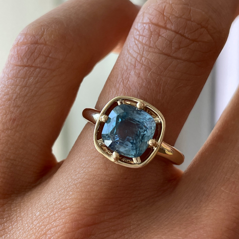 3.07ct Teal Sapphire Georgia Solitaire
