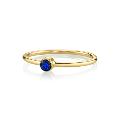 Blue Sapphire Sweet Pea Stacking Ring - Marrow Fine