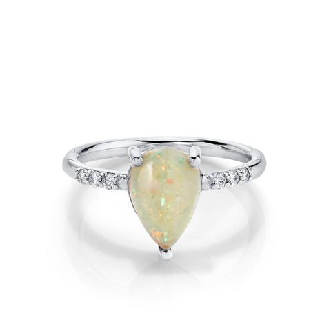 Lovely Rachael Opal Ring with White Diamonds - Marrow Fine