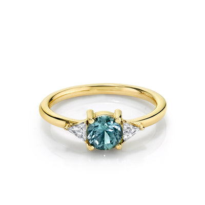 Teal Montana Sapphire Trillion Ring