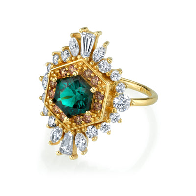 Tourmaline Hex Ballerina Ring - Marrow Fine