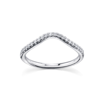 Simple Wave White Diamond Band