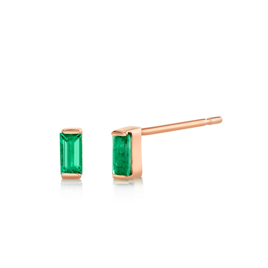 Emerald Baguette Stud Earrings - May - Marrow Fine