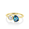 Sapphire Pear & Old Mine Cut Diamond Toi et Moi Ring