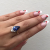 Blue Sapphire Pear & White Diamond Ballerina Ring - Marrow Fine