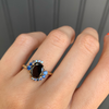 Black Diamond Oval + Sapphire Spray Engagement Ring