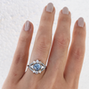 Blue Sapphire & White Diamond Art Deco Engagement Ring - Marrow Fine