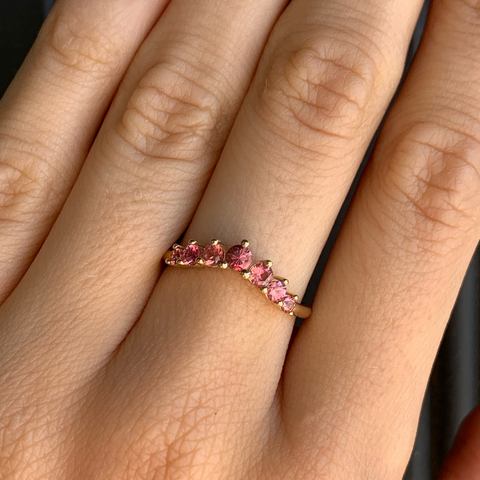 Padparadscha Sapphire Seven Stars Stacking Ring - Marrow Fine