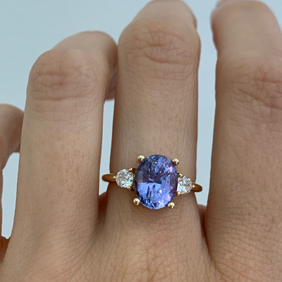 3.68ct Purple Sapphire Three-Stone Ring - Marrow Fine