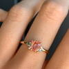 Peachy Oval Sapphire Cluster Ring