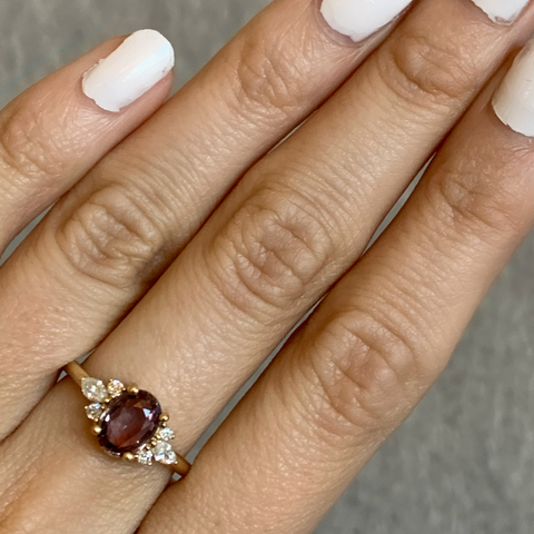 Dusty Rose Oval Sapphire Cluster Ring - Marrow Fine