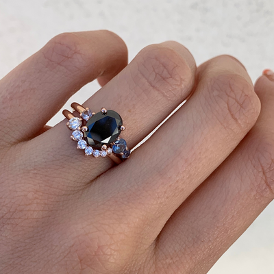 Black Diamond Oval Engagement Ring & Brilliant Nova Band