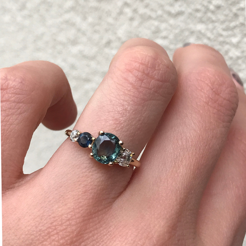 Blue-Green Sapphire Linear Ring - Marrow Fine