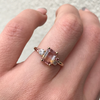 Peachy Bicolor Sapphire Engagement Ring
