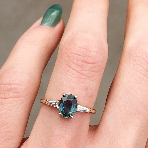 Teal Oval Sapphire & Tapered Baguette Engagement Ring - Marrow Fine