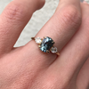 Seafoam Sapphire Cushion Three-Stone Ring