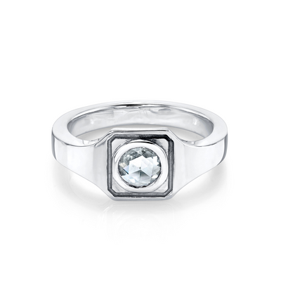 White Diamond Boyfriend Signet Ring - Marrow Fine