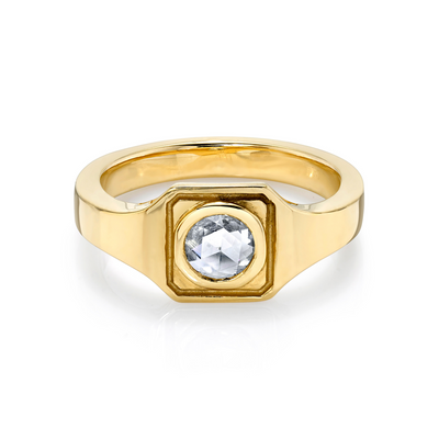 White Diamond Boyfriend Signet Ring