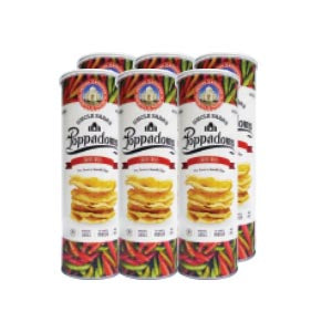 Bulk Sale - Uncle Saba's Poppadom Sweet Chilli / Original (70g) x 6 Tin Cans