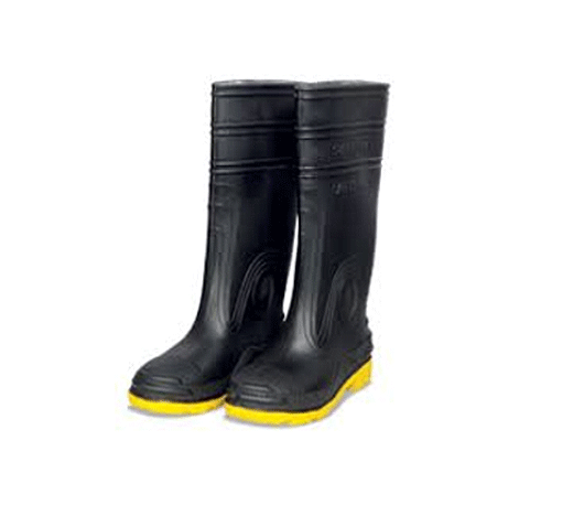 SUPER TUFF, Black (Yellow Sole), Safety Rubber Boots - Rompro Industrial Supply