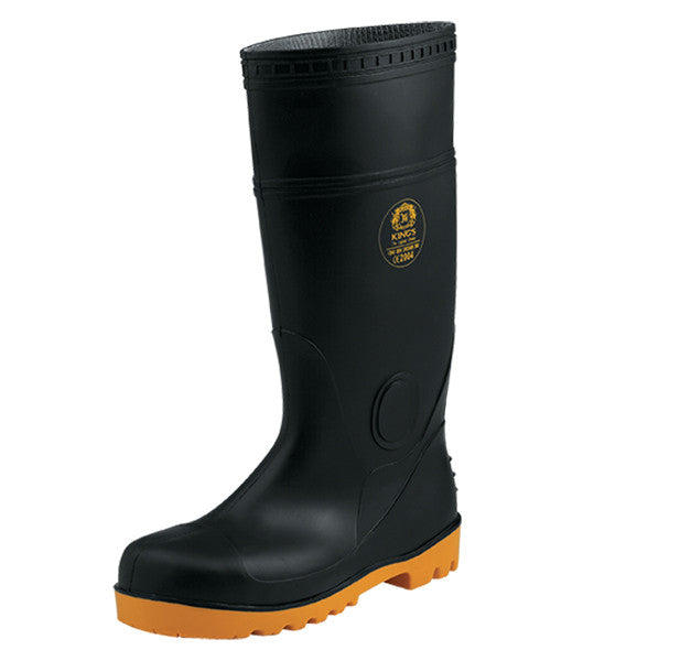 SUPER TUFF, Black(Orange Sole), Safety Rubber Boots - Rompro Industrial Supply