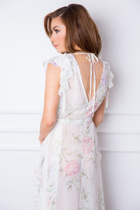 Sofia Long Frill Floral Robe - Homebodii US