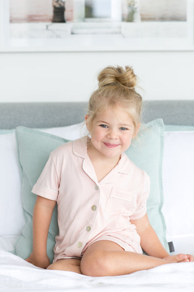 Children's Modal Piping PJ Set - Blush - Homebodii US