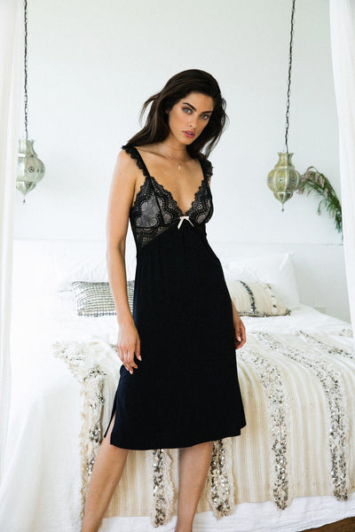 Petra Nightie - Black - Homebodii US