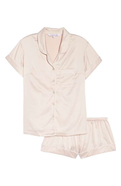 Short Pyjama Piping Set - Rose - Homebodii US