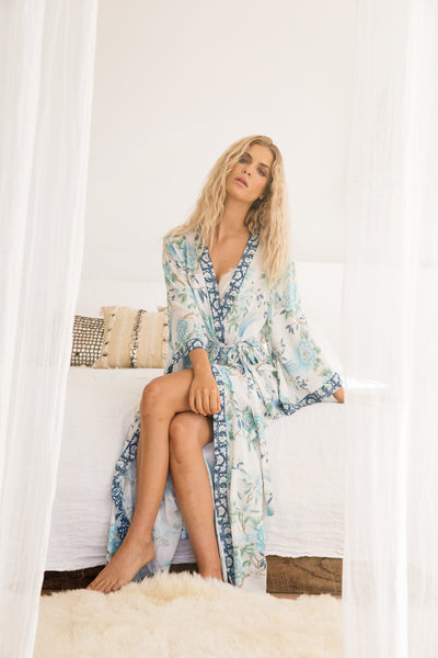 Long Boho Robe - Blue - Homebodii US