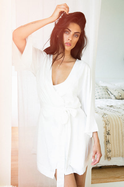Jasmine Robe - White - Homebodii US