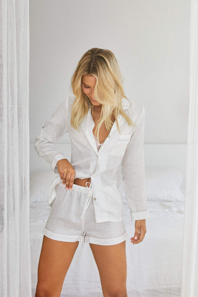 Linen Long Sleeve PJ Set - White with Blush