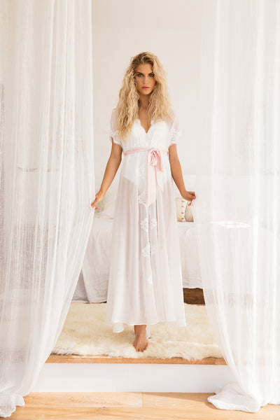 Farrah Long Lace Chiffon Robe - Homebodii US