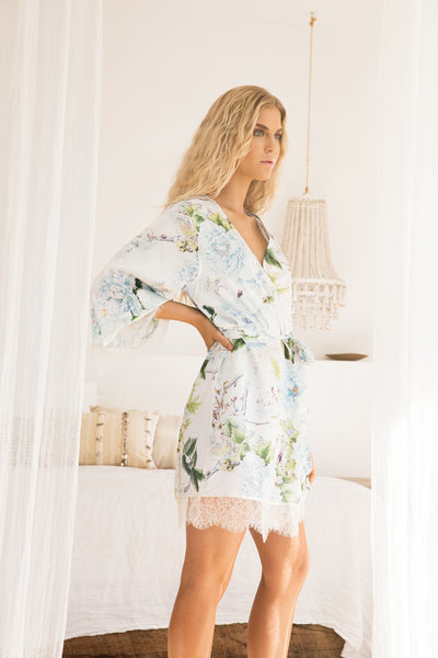 Amalia Lace Trim Robe - Homebodii US