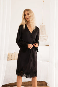 Olivia Robe - Black - Homebodii US