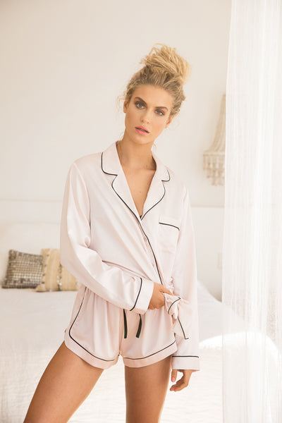 Grace Long Sleeve Piping - Blush - Homebodii US