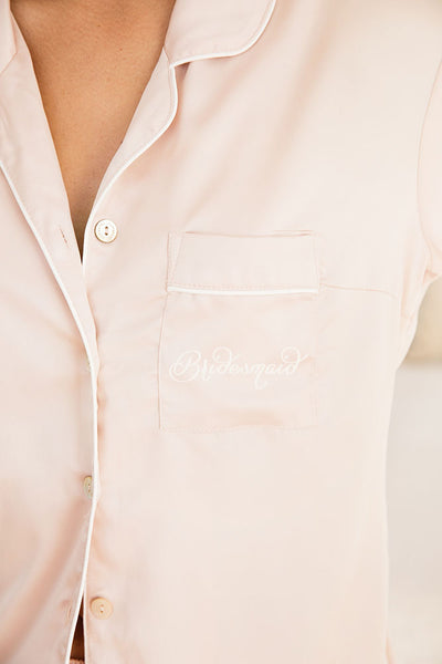 Bridesmaid Short Piping PJ Set - Blush - Homebodii US